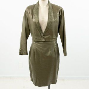 Vintage 80s S/M Leather Blazer Skirt Set Olive